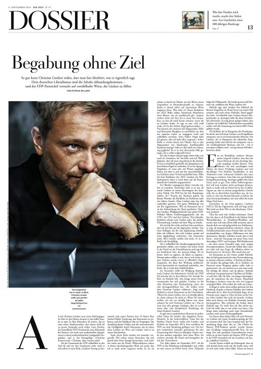 "Christian Lindner in ""DIE ZEIT"", 2018"